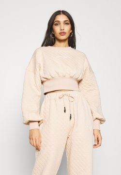 Missguided - QUILTED CROP - Felpa - stone