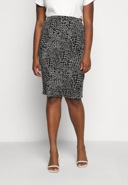 CAPSULE by Simply Be - MONO PRINT MIDI SKIRT - Bleistiftrock - black/ivory