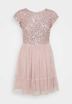 Maya Deluxe - DELICATE SEQUIN RUFFLE SLEEVE MINI DRESS - Vestido de cóctel - frosted pink