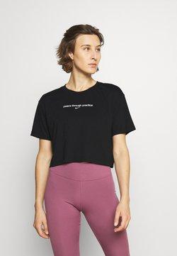 Nike Performance - CROP YOGA - Print T-shirt - black