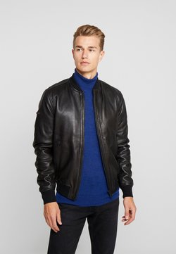 Superdry - LEATHER FLIGHT BOMBER - Giacca di pelle - black