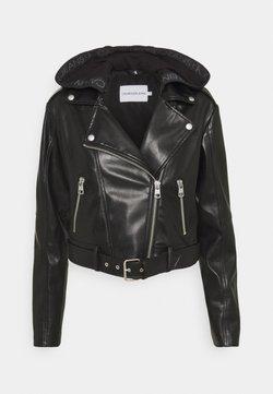 Calvin Klein Jeans - BIKER HOODED JACKET - Imitert skinnjakke - black