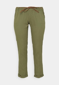 Mamalicious Curve - MLBEACH BELT WOVEN PANT - Spodnie materiałowe - olivine