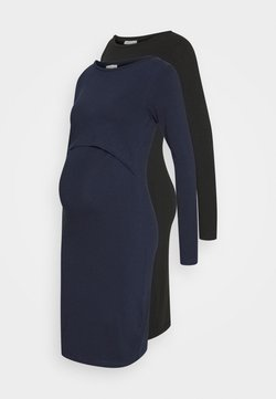 Anna Field MAMA - 2 PACK NURSING DRESS - Trikoomekko - dark blue/black