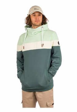 Kazane - HAKAN HOODIE - Sweatshirt - silver pine/pastel green