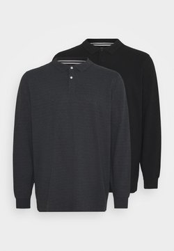 Pier One - BIG 2 PACK LONG SLEEVE - Polo - black/mottled dark grey