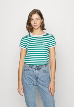Tommy Jeans - LOGO STRIPE RINGER TEE - T-Shirt print - white / midwest green