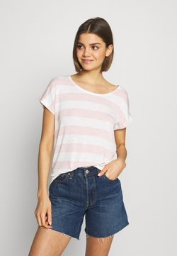 Vero Moda - VMWIDE STRIPE TOP  - T-Shirt print - sepia rose/snow white