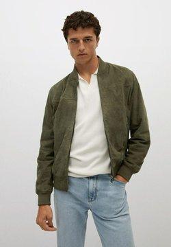 Mango - GRUS-I - Leather jacket - vert