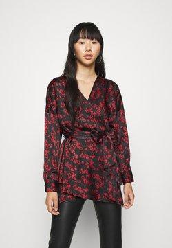 Missguided - PLUNGE TIE WAIST BLOUSE FLORAL PRINT - Bluse - black