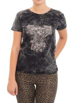 Queen Kerosin - MIT DRUCK UND ÄRMELAUFSCHLAG - T-shirt print - schwarz