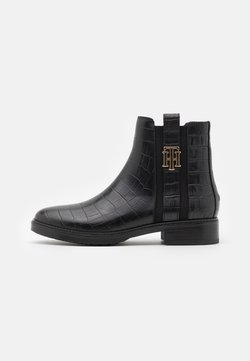 Tommy Hilfiger - CROCO LOOK DRESSY FLAT BOOT - Stiefelette - black