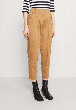 Marc O'Polo PURE - TAPERED PANTS WITH PLEATS AND POCKET FLAPS - Stoffhose - gold amber