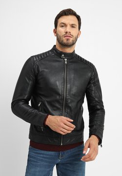 Selected Homme - RACER - Leren jas - black