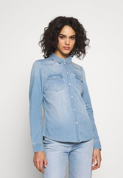Vero Moda - VMMARIA SLIM  - Hemdbluse - light blue denim/birch