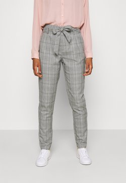 Vero Moda - VMMIYA HR LOOSE CHECK TIE PANT - Stoffhose - snow white/black