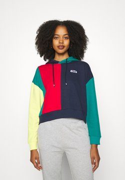 Fila - BAYOU BLOCKED HOODY - Sweat à capuche - black iris/true red/teal green/aurora