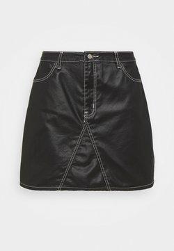 Missguided Plus - COATED CONTRAST STITCH SKIRT - Minigonna - black