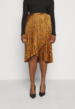 CAPSULE by Simply Be - ANIMAL PRINT WRAP FRONT PLEATED MIDI SKIRT - A-Linien-Rock - tan/black