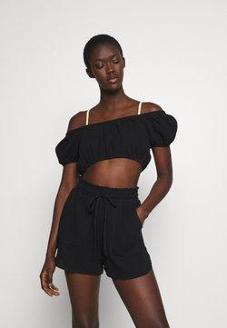 Cotton On Body - OFF THE SHOULDER LONGLINE SHORT SET - Accessoire de plage - black