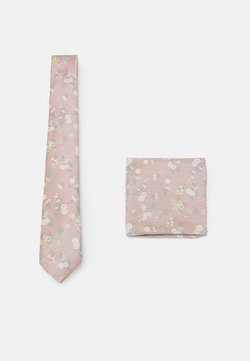 Burton Menswear London - FLORAL TIE AND HANKIE SET - Krawatte - light pink