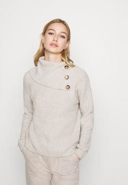 ONLY - ONLJADA ROLL NECK - Jersey de punto - pumice stone/white melange