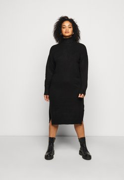 Simply Be - YOKE ROLL NECK SWEATER DRESS - Strickpullover - black