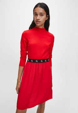 Calvin Klein Jeans - LOGO ELASTIC DRESS - Robe en jersey - red hot