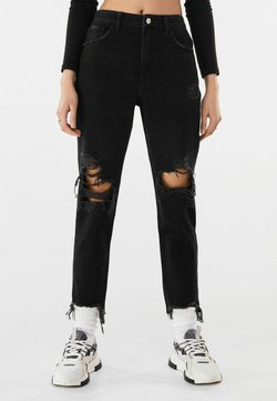 Bershka - MIT RISSEN  - Jeans relaxed fit - black