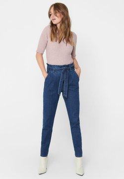 ONLY - REGULAR FIT ONLPOPTRASH PAPERBAG - Jeans Straight Leg - dark blue denim