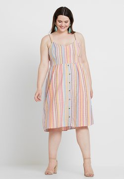 New Look Curves - STRIPE BUTTON STRAPPY MIDI - Vapaa-ajan mekko - pink