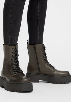 Bianco - BIADEB LACED UP BOOT - Plateaustiefelette - khaki
