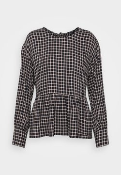 Madewell - PEPLUM BUTTON BACK PLAID - Bluse - black