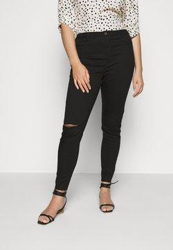 Missguided Plus - LAWLESS SLASH KNEE HIGHWAISTED SUPERSOFT - Jeans Skinny - black