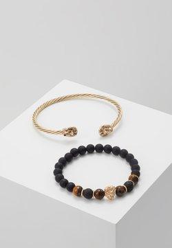 Burton Menswear London - LION BANGLE AND BEADS - Bracelet - gold-coloured/black