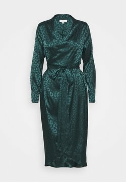 Never Fully Dressed Petite - LEOPARD LONGSLEEVE WRAP DRESS - Cocktailkleid/festliches Kleid - emerald