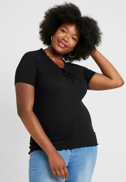New Look Curves - RUFFLE NECK LINE - T-paita - black