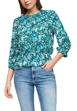 Q/S designed by - MIT SMOK-DETAIL - Bluse - turquoise aop