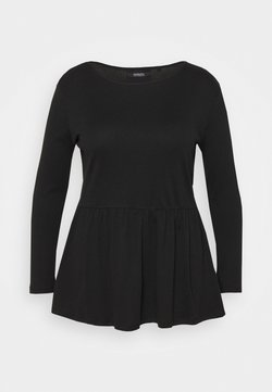 Simply Be - PEPLUM LONG SLEEVE - Langarmshirt - black