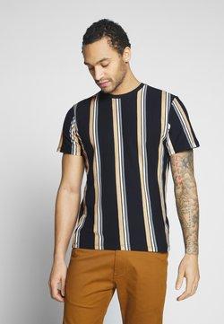 Topman - LUKE STRIPE - T-shirt imprimé - navy