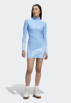 adidas Originals - IVY PARK 1/2 ZIP LATEX DRESS - Vestido informal - light blue/white