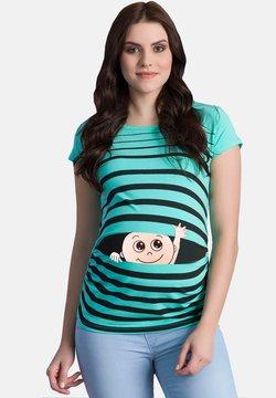 M.M.C. - MIT MOTIV WINKE WINKE - T-Shirt print - turquoise
