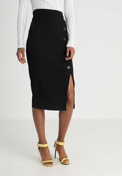 WAL G. - TORTOISE BUTTON SKIRT - Bleistiftrock - black