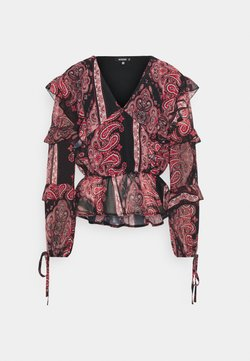 Missguided - PAISLEY FRILL DETAIL BLOUSE - Bluzka - tan