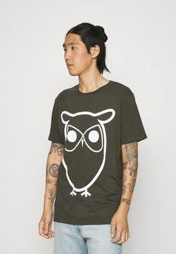 KnowledgeCotton Apparel - ALDER BASIC OWL TEE  - Printtipaita - green melange