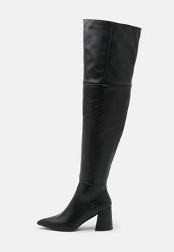Missguided - LOW BLOCK HEEL BOOTS - Over-the-knee boots - black