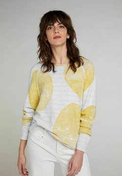 Oui - Strickpullover - lt grey yellow