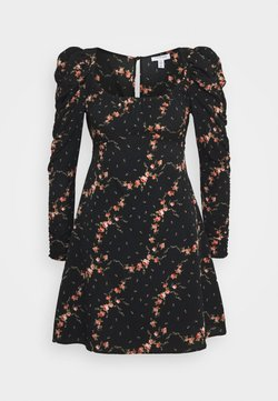 Topshop - RUCH SLEEVE TEA DRESS - Freizeitkleid - black