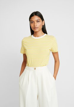 Selected Femme - SLFMY PERFECT TEE BOX CUT - T-Shirt print - lemon curry/snow white
