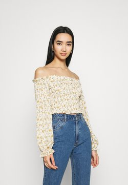 Missguided - FLORAL FRILL DETAIL SHIRRED CROP - Bluse - cream